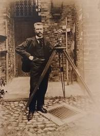My great-granfather Arthur Roose wih his surveyor's equipment, c1910