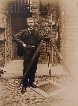 My great-granfather Arthur Roose wih his surveyor's equipment, c1910