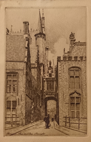 Etched postcard - view of the Blinde Ezel straat in Bruges, c1925. On the back is a love letter from my grandfather Karel Roose to my grandmother Henriette Dumalin