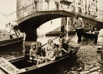 My parents and the children on vacation in Venice, c1970. I am the girl in the front, looking over her shoulder.