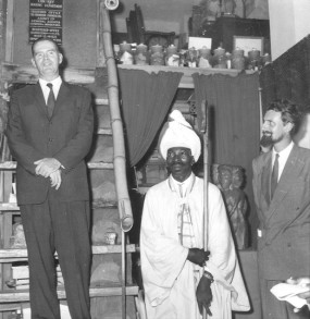 Kapo at the Hill's Gallery, Kingston, Jamaica, with Governor Sir Hugh Foot (left) and Christopher Hill, 1956 (image source: Wikimedia