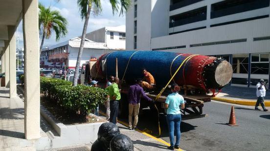 Laura Facey's Ceiba arrives for the Jamaica Biennial 2017 (photo: Veerle Poupeye)