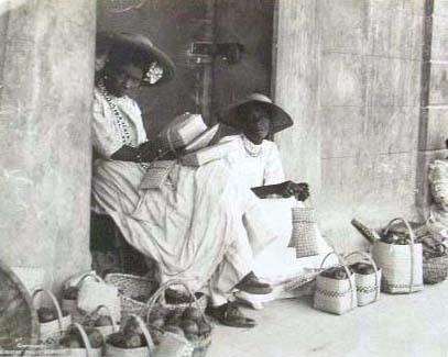 Fruit basket vendors, Jamaica, c1905