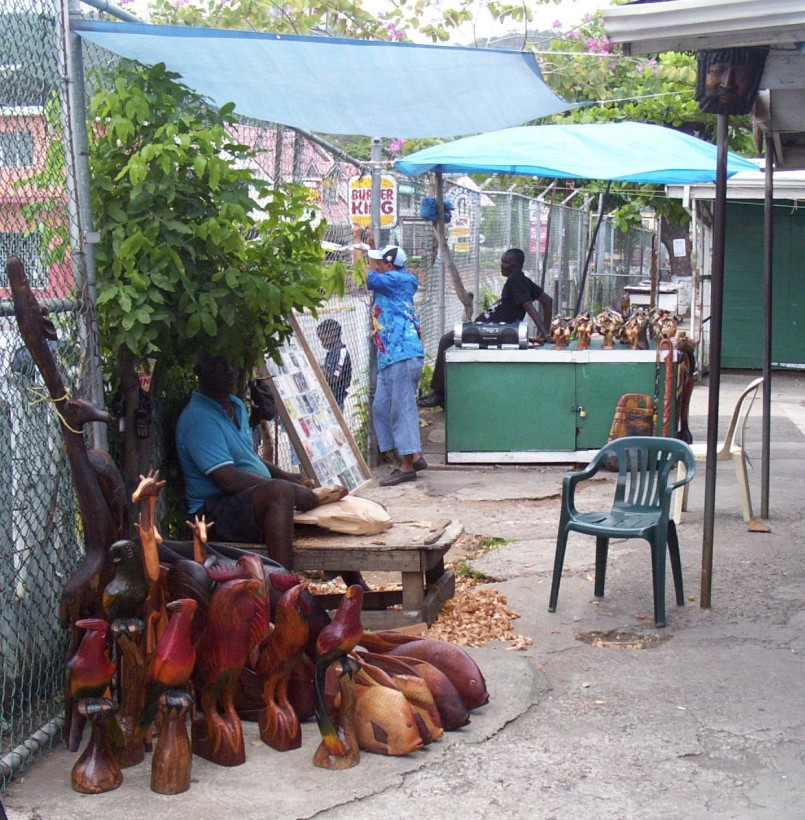 A woodcarver at the Ocho Rios Craft Market, c2003 (photo: Marc Rammelaere - all rights reserved)